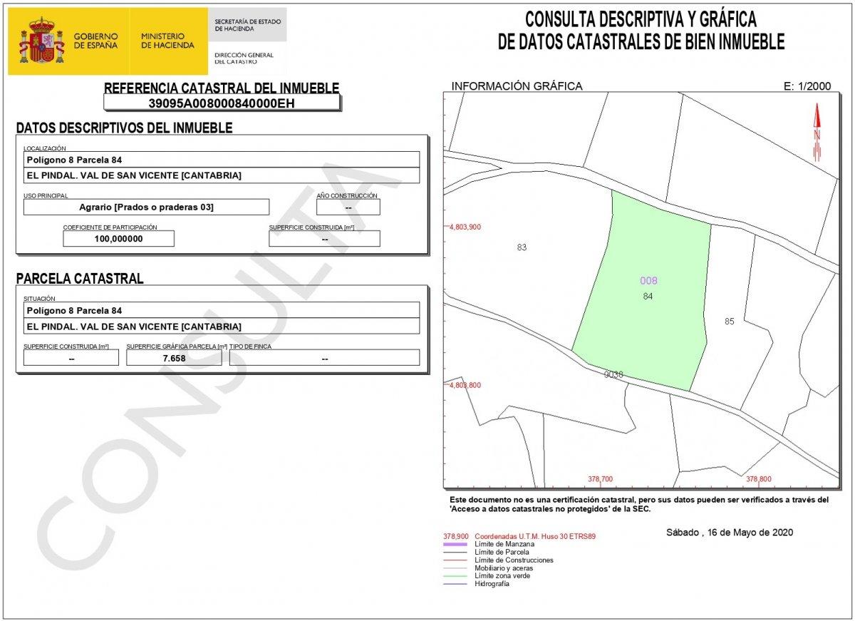 Finca rústica en venta en Val de San Vicente  de 7.658 m2 por 19.000 €.