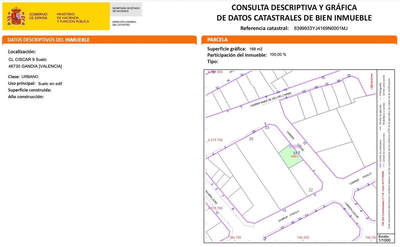 Suelo urbano  en venta en c. ciscar, 9, grao de gandía. edificabilidad total: 1.011 m2 - imagenInmueble1