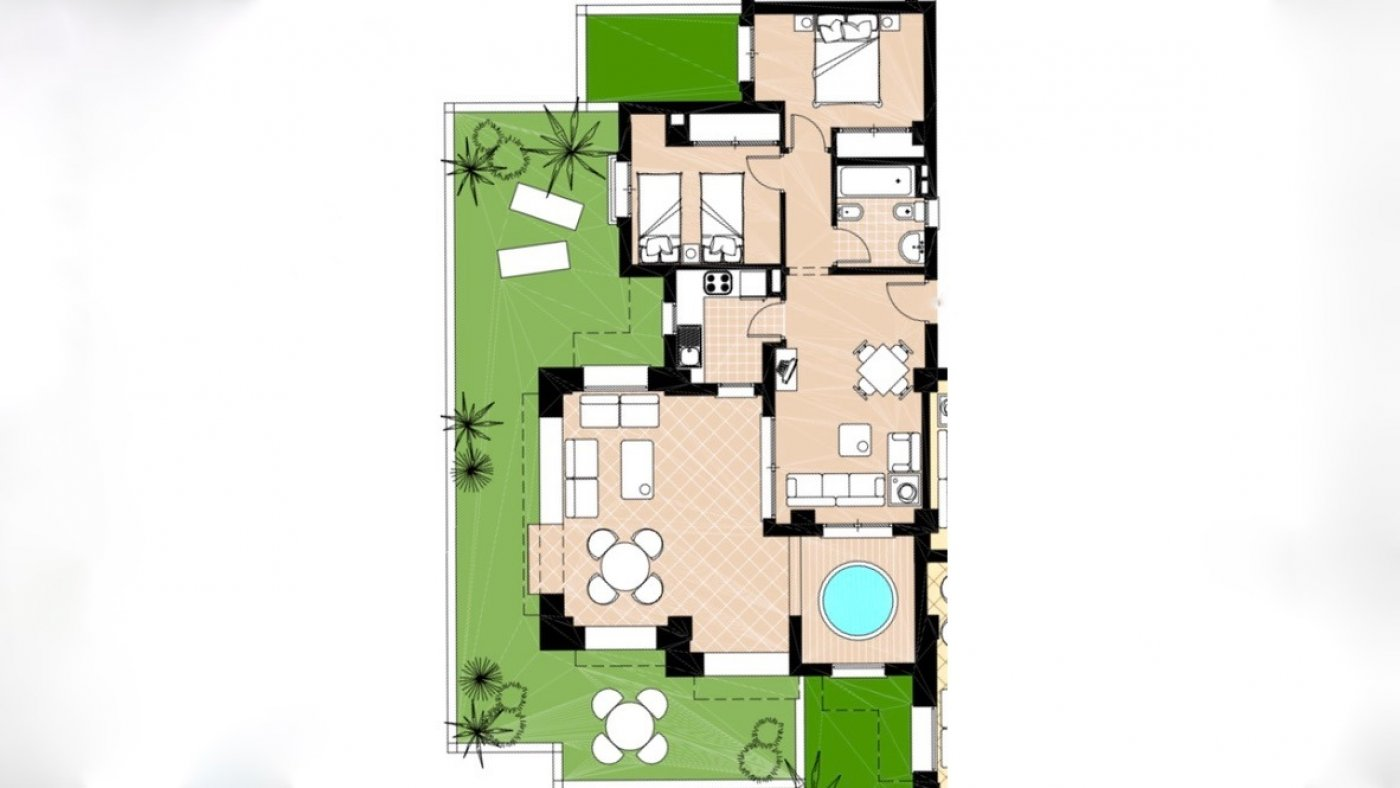 Gallery Image 22 of 2 bed garden apartment with a lot of opportunities, close to pool 40 m2 covered terrace