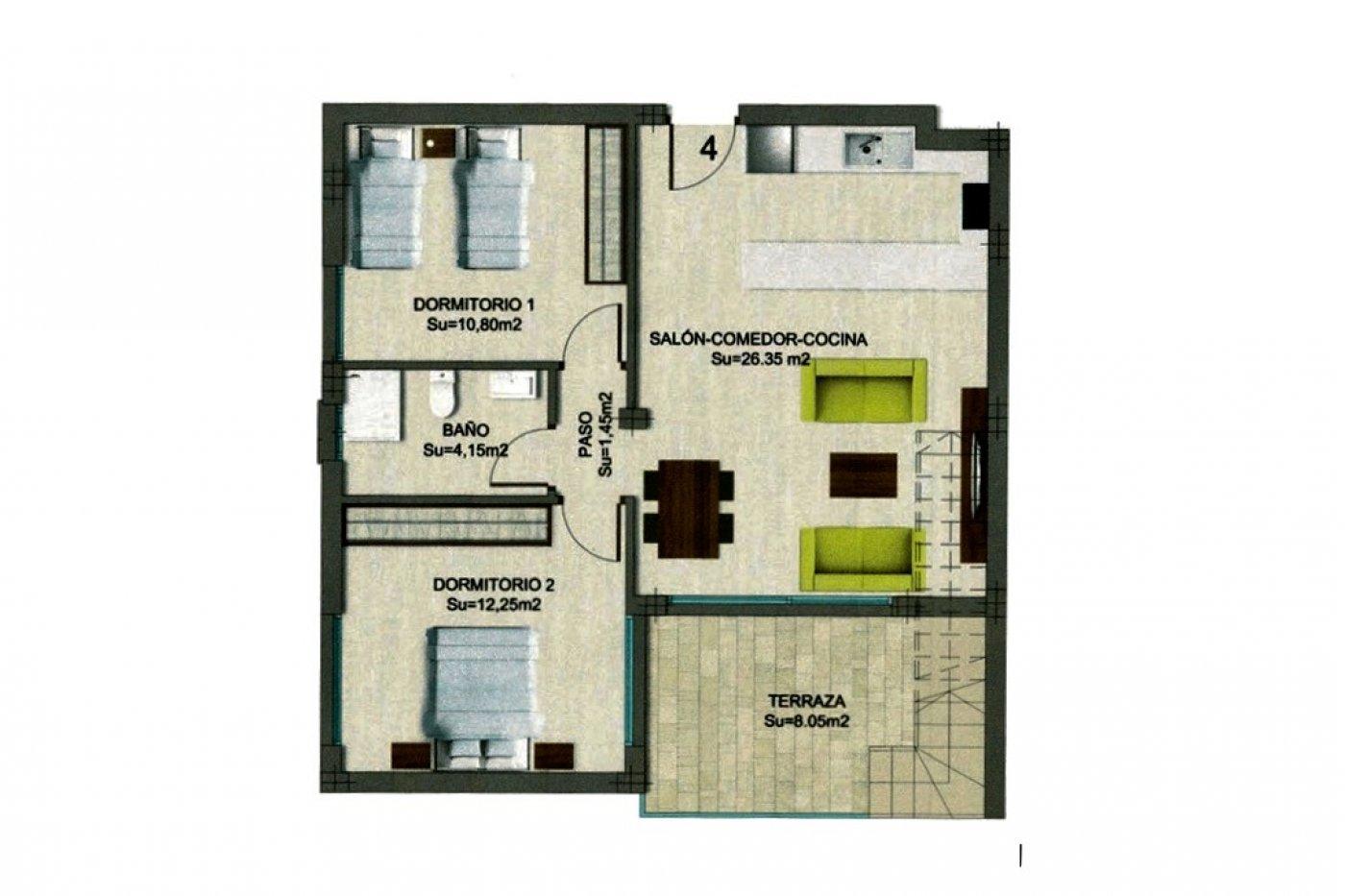 Imagen de la galería 2 of Nuevo apartamento listo en la planta superior de 2 dormitorios a solo 2 minutos a pie de las playas,