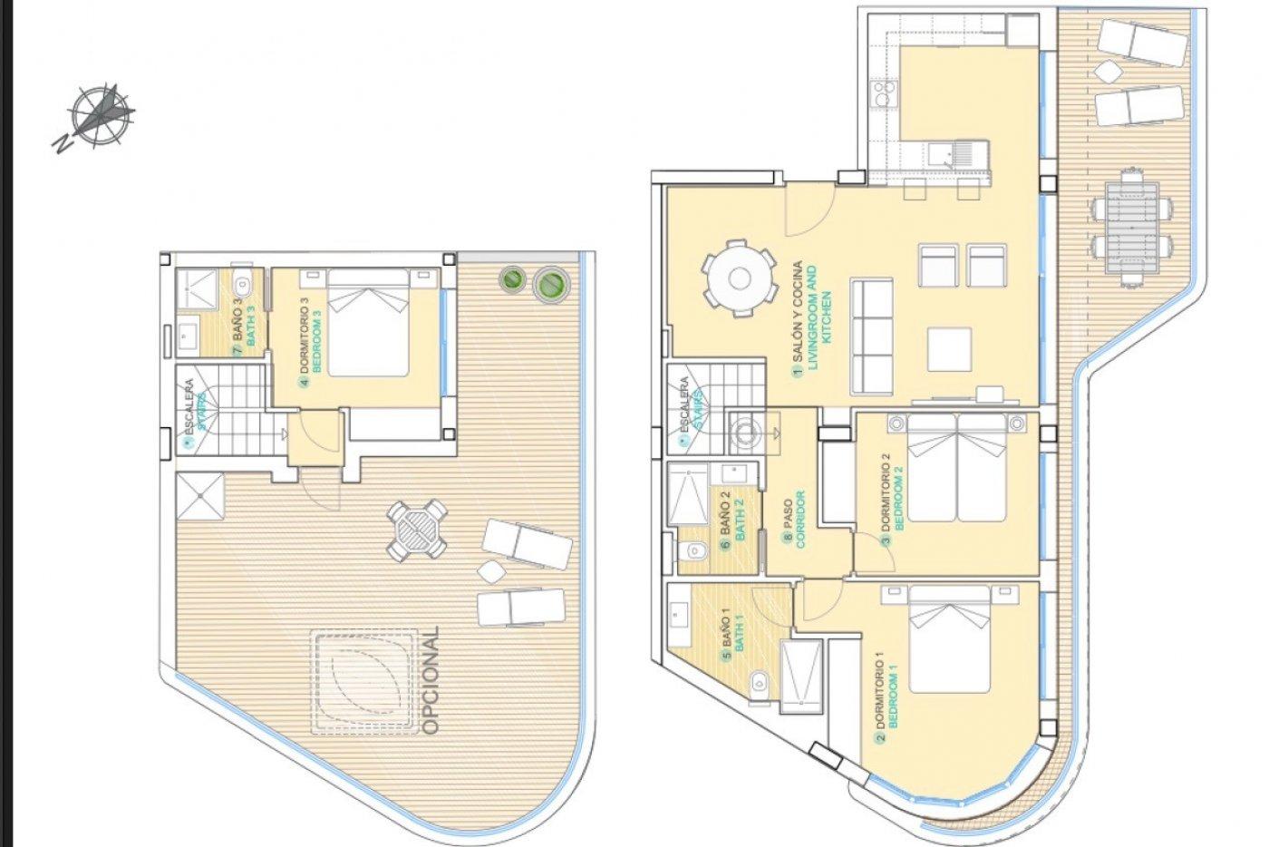 Galleribillede 1 of Exceptionel 2 etagers 4 vær luksus lejlighed, panorama udsigt, 58 m2 og 24 m2 solterrasser