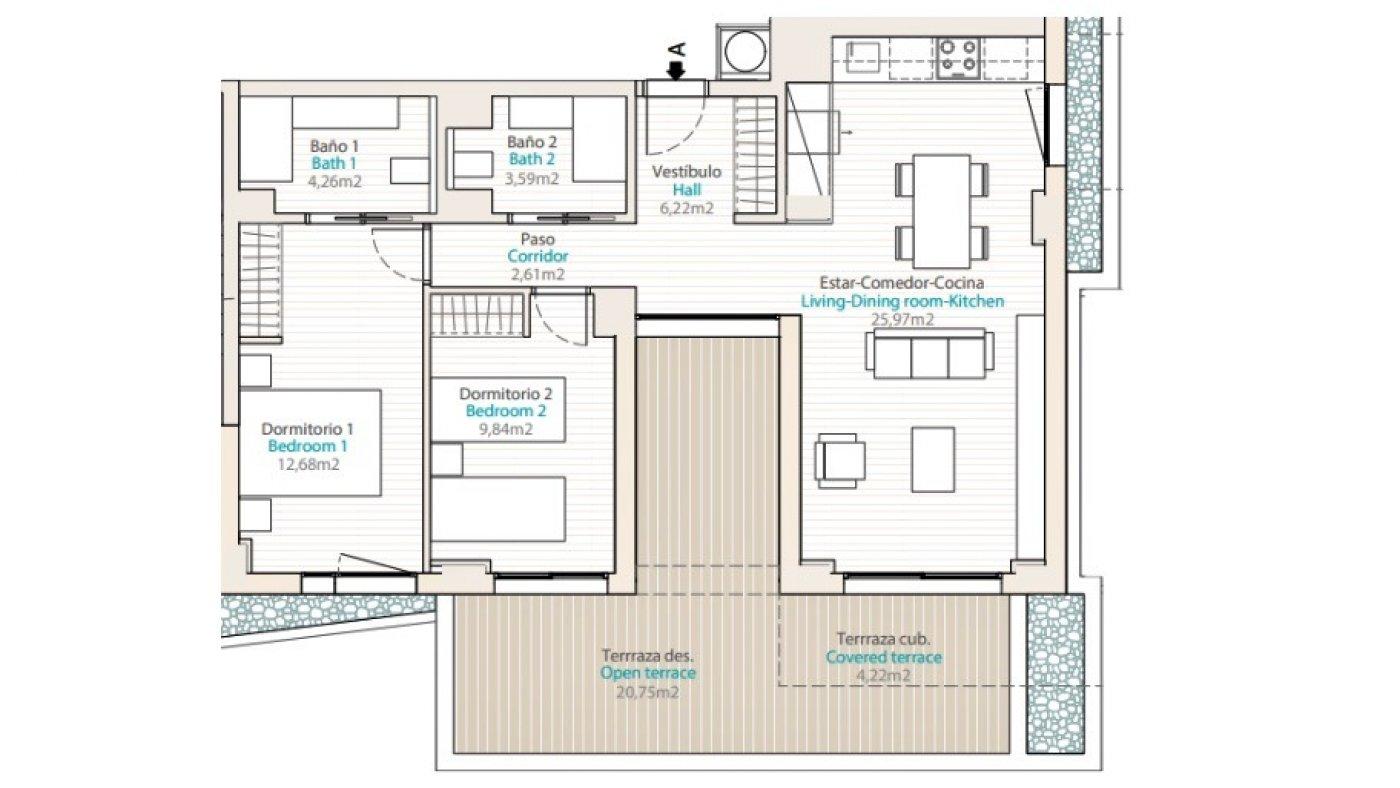 Galleribillede 3 of 3 vær luksus lejlighed 150 m fra stranden med 25 m2 sydvendt terrasse