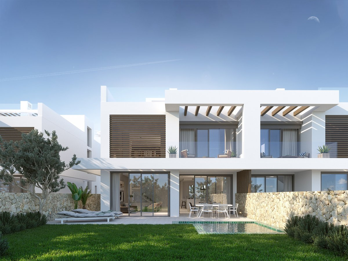 Newly built luxury semi detached house in Artola with panoramic views to the sea and golf courses