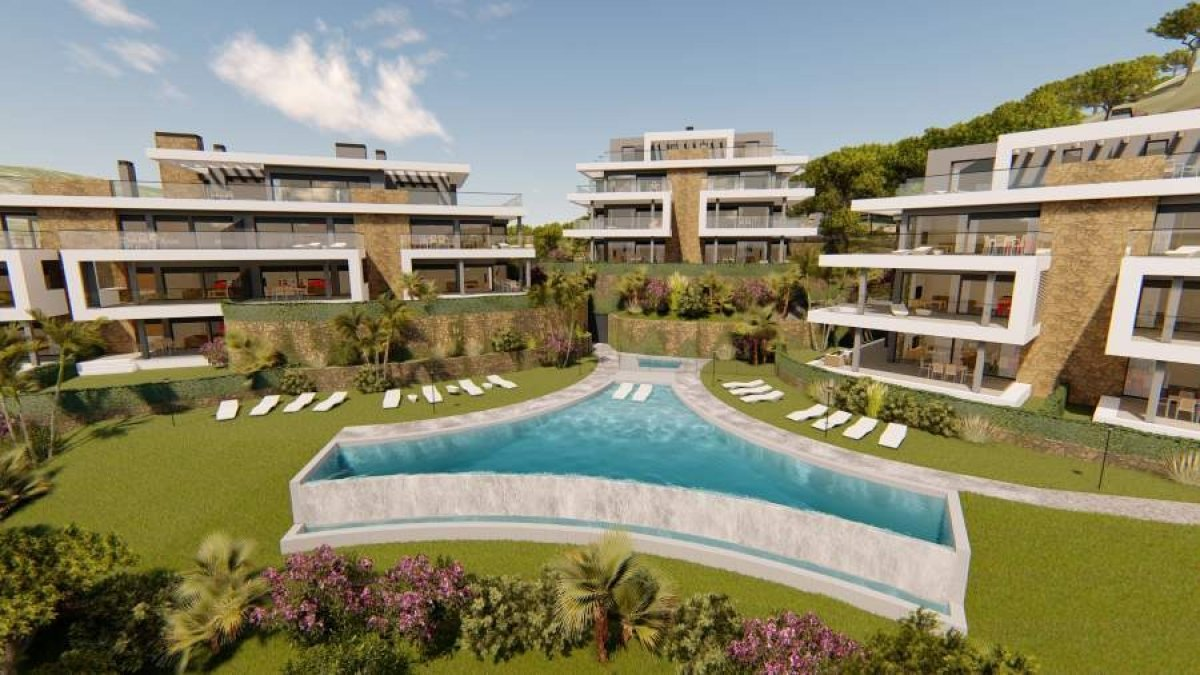 New south facing apartment with panoramic views across a beatiful valley in Selwo, Estepona