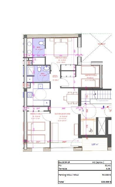 Obra nova, pis de 3 habitacions a ple centre