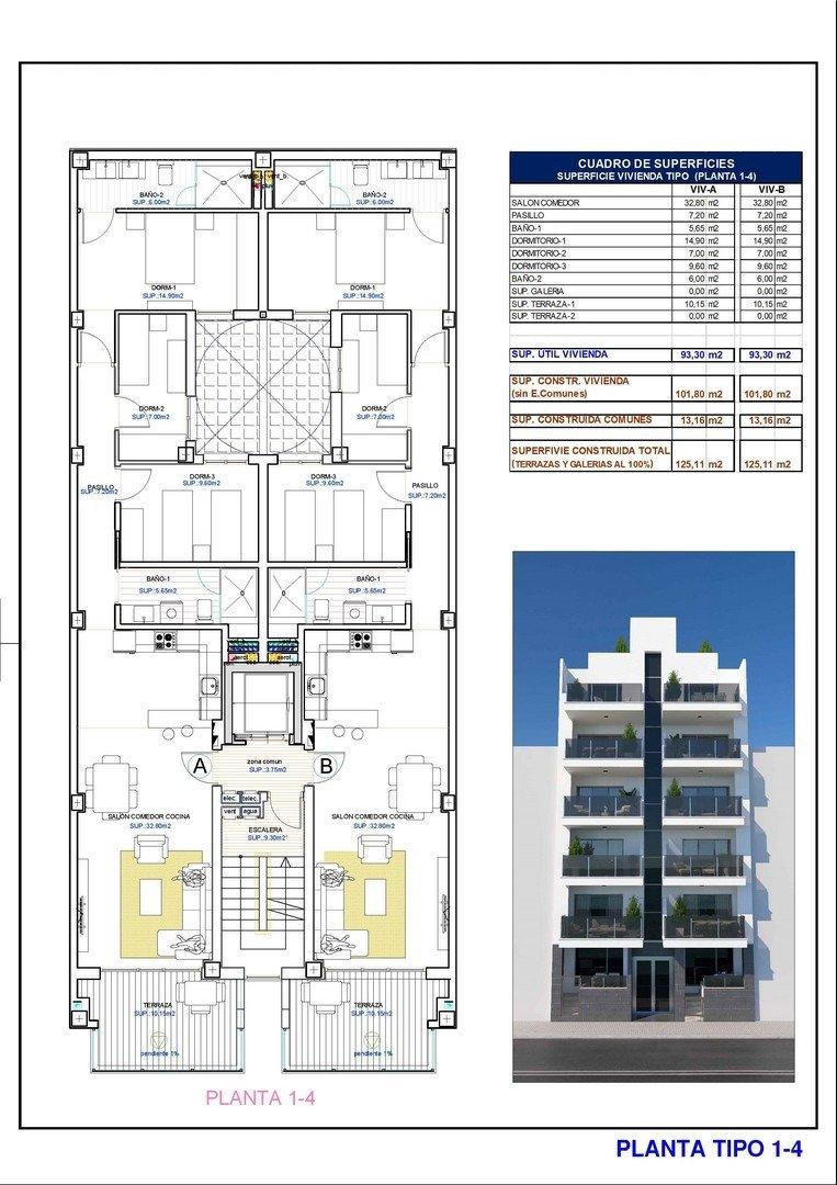 Apartamentos nuevos con piscina en cubierta a 100 m de la playa en torrevieja - imagenInmueble8